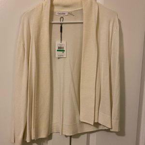 Collared ivory short sweater Size L
